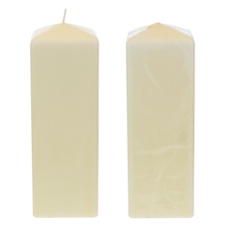 "Mega Candles - 3"" x 9"" Unscented Dome Top Square Pillar Candle - Ivory"