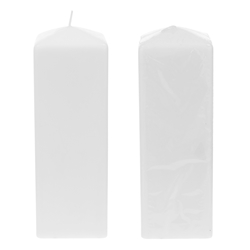 "Mega Candles - 3"" x 9"" Unscented Dome Top Square Pillar Candle - White"
