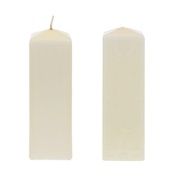"Mega Candles - 2"" x 6"" Unscented Dome Top Square Pillar Candle - Ivory"