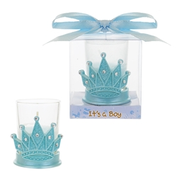 Mega Favors - Crown with Rhinestones Poly Resin Candle Set in Gift Box - Blue