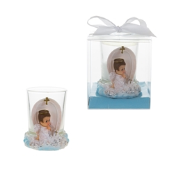Mega Favors - Angel Praying on Clouds Poly Resin Candle Set in Gift Box - Blue