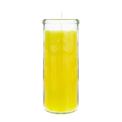 "Mega Candles - 3"" x 7.25"" Unscented Tall Prayer Container Candle - Yellow"