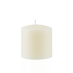 "Azure Candles - 3"" x 3"" Unscented Round Glazed Pillar Candle - Ivory"