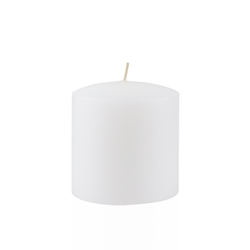 "Azure Candles - 3"" x 3"" Unscented Round Glazed Pillar Candle - White"
