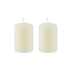 "Azure Candles - 2"" x 3"" Unscented Round Glazed Pillar Candle - Ivory"