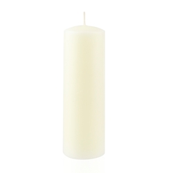 "Azure Candles - 2"" x 6"" Unscented Round Glazed Pillar Candle - Ivory"