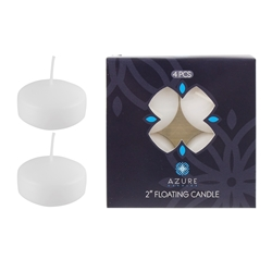 "Azure Candles - 4 pcs 2"" Unscented Glazed Floating Disc Candle - White"