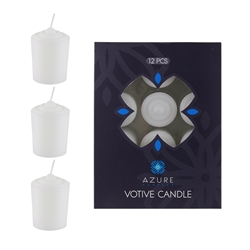 Azure Candles - 12 pcs 15 Hours Unscented Votive Candle - White