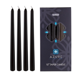 "Azure Candles - 12 pcs 10"" Unscented Glazed Taper Candle - Black"
