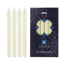 "Azure Candles - 12 pcs 10"" Unscented Glazed Straight Taper Candle - Ivory"