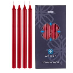 "Azure Candles - 12 pcs 12"" Unscented Glazed Straight Taper Candle - Red"