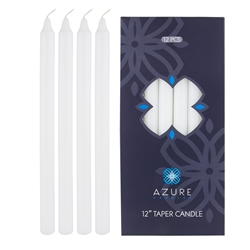 "Azure Candles - 12 pcs 12"" Unscented Glazed Straight Taper Candle - White"