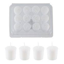 Azure Candles - 12 pcs 10 Hours Unscented Glazed Votive Candle in PVC Tray - White