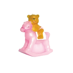 "Mega Candles - 7"" Teddy Bear Riding on Toy Rocking Horse Candle - Pink"