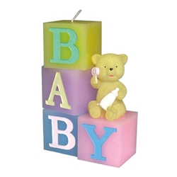 "Mega Candles - 9"" Teddy Bear Sitting on Baby Blocks Candle - Asst"