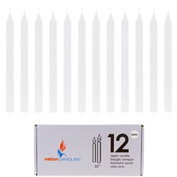 "Mega Candles - 12 pcs 10"" Unscented Straight Taper Candle in White Box - White"