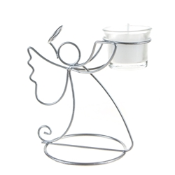Mega Candles - Angel Metal Candle Holder with Candle - White