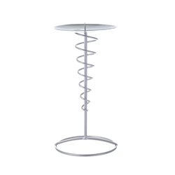 Mega Candles - Pillar / Round Tall Spiral Metal Candle Holder - Silver