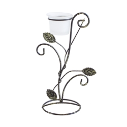 Mega Candles -Votive Leaf Metal Candle Holder - Bronze